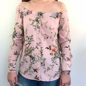 Off the shoulder silk floral top size XS